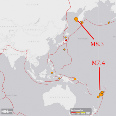 M8.3 hit Sakhalin 12 hours after M7.4 hit Fiji