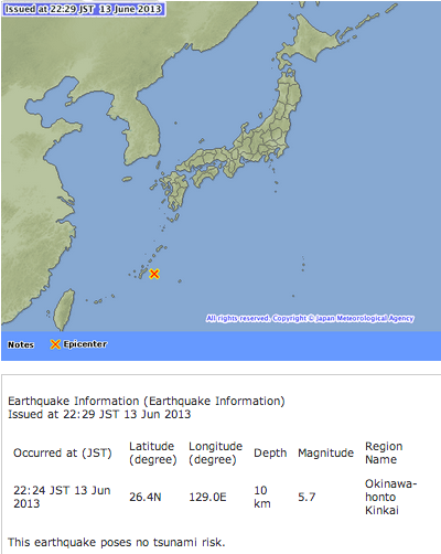 M5.7 hit Okinawa offshore, 10km depth, Max seismic scale as 3~4