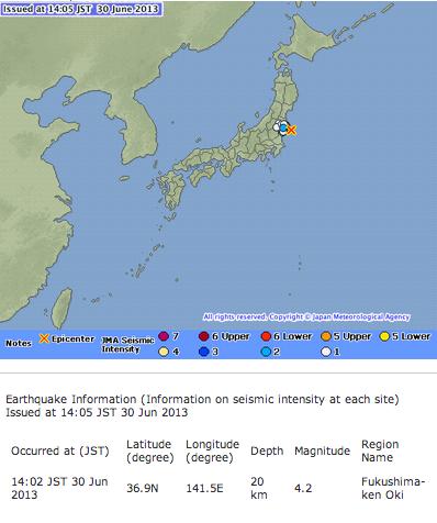 M4.2 hit Fukushima offshore