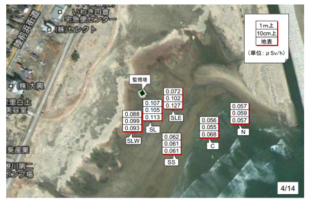 Radiation level increased at all of the 18 points within 2 months in Yotsukura beach Fukushima