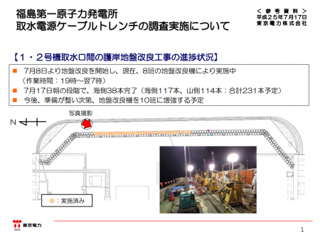 Tepco completed 16% of ground improvement on the east side of reactor1&2