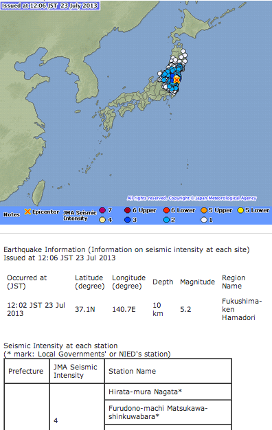 M5.2 and M3.2 hit Fukushima nuclear plant