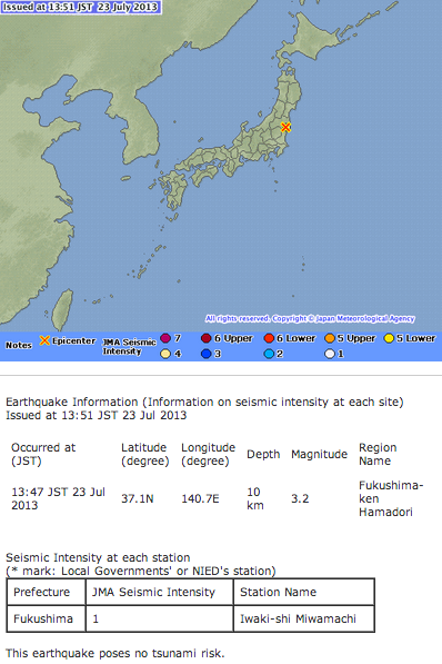 2 M5.2 and M3.2 hit Fukushima nuclear plant