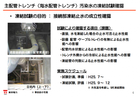 "4 Tepco to shut down extremely contaminated trench by freezing water / ""New attempt without example"""