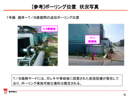 """Tepco """"Boring survey-able space is very limited on the seaside of the reactor1 due to debris and temporary facility"""""""