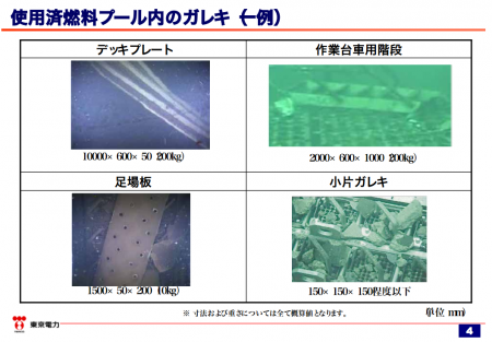 2 [Fuel removal of reactor4 pool] Tepco released the debris map of SFP4 -Complete mess
