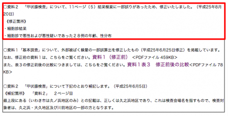 "2 Fukushima gov ""revised"" the past thyroid report as publishing the latest report"