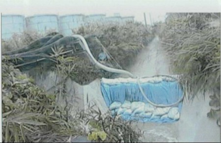 [Photo] Collapsed sandbag dam of 300m3 leakage area due to the Typhoon