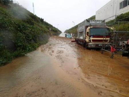 [Photo] Fukushima plant's collapsed slope due to the Typhoon