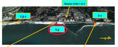Highest Cs-134/137 density in seawater near the outlet of plant drain outside of the port