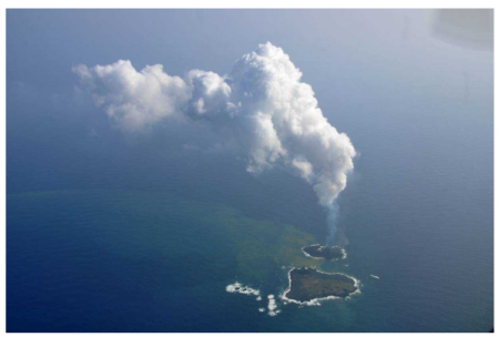 3 New volcanic island still actively growing / Emits the black smoke to 150 m height every 5 mins