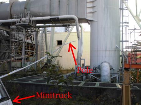 2 Attached a dosimeter on the top of a pole, moved it by a minitruck to measure 25 Sv/h