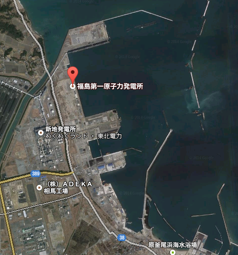 2 GOOGLE maps indicates an irrelevant power plant 50km north of actual as Fukushima nuclear plant