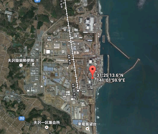 3 GOOGLE maps indicates an irrelevant power plant 50km north of actual as Fukushima nuclear plant