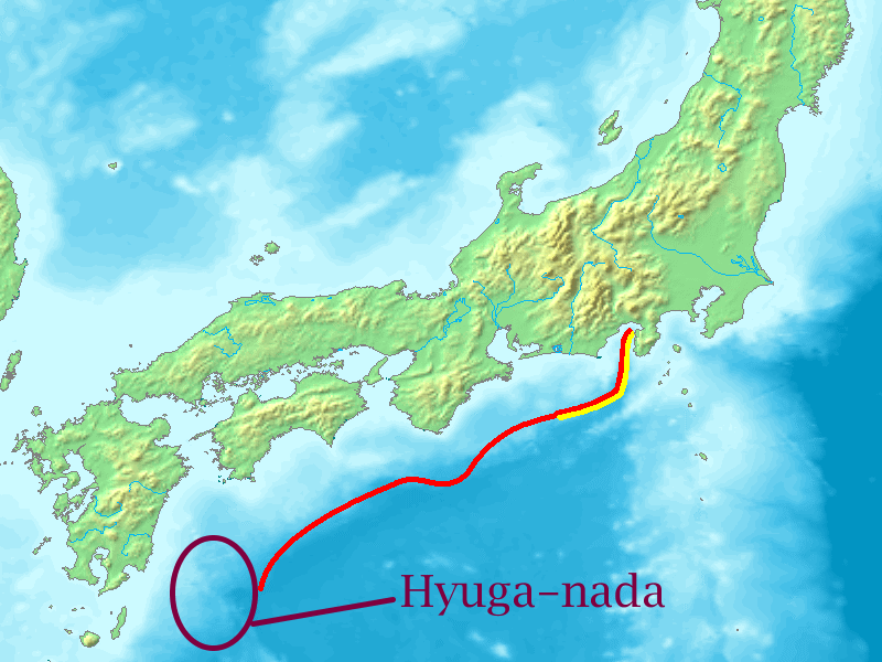 3 6 intense quakes hit Hyuga-Nada within 5 hours - The western end of Nankai Trough