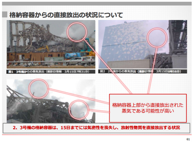 3 Photos Tepco admitted Reactor 2 and 3 directly released radioactive material to the air by 3:15:2011 : 100 Sv:h measured in vessel