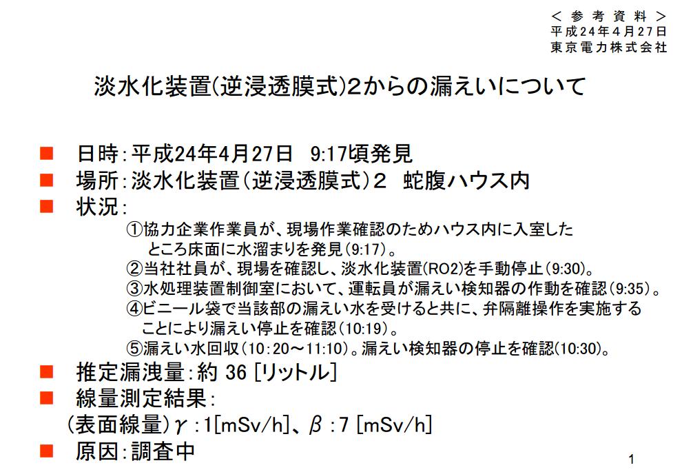 1.9E+9Bq of beta nuclide leaked