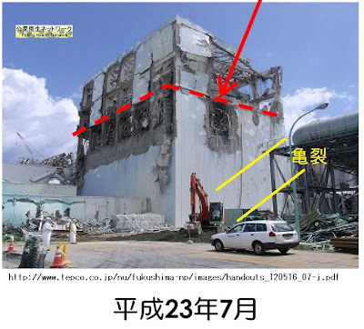 Crack on reactor 4 building