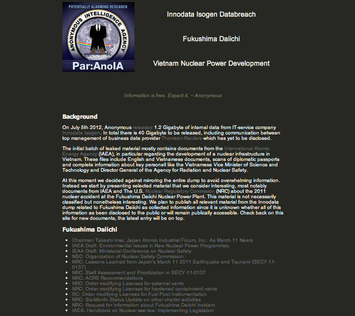 Anonymous leaked material about Fukushima