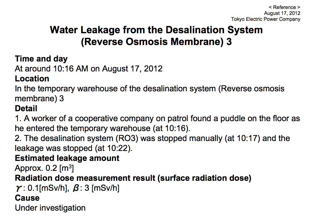 """11,400,000 Bq/m3 of cesium leaked again, """"metal fatigue of a coupler"""" 4"""