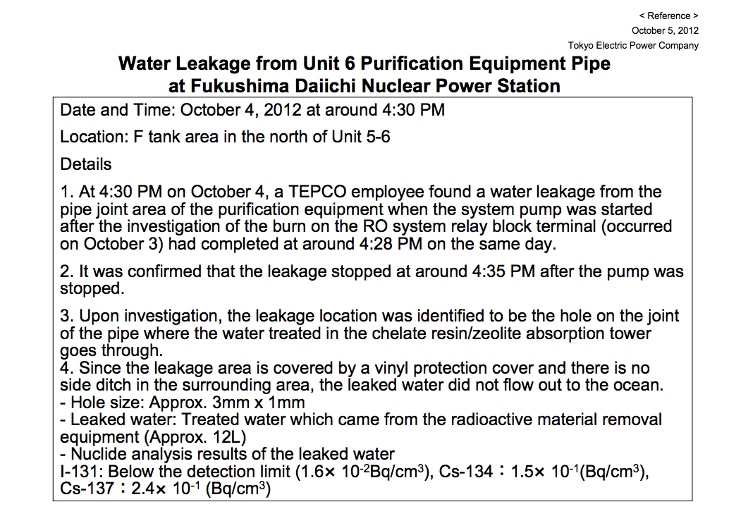 Contaminated water leaked from water purification equipment of reactor6