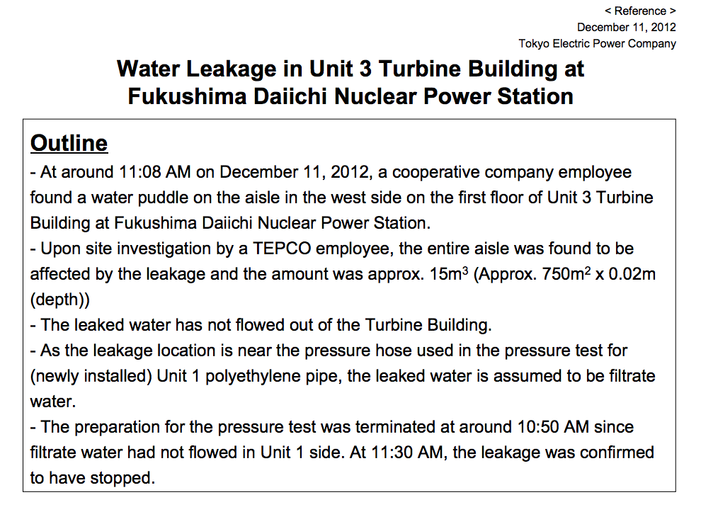 [Leakage for 2 continuous days] 15m3 of contaminated water leaked in reactor3 turbine building