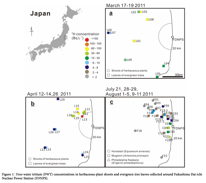 2 5,400 Bq/L of tritium was contained in atmospheric moisture from 3/17/2011 to the end of July in 20km area of Fukushima