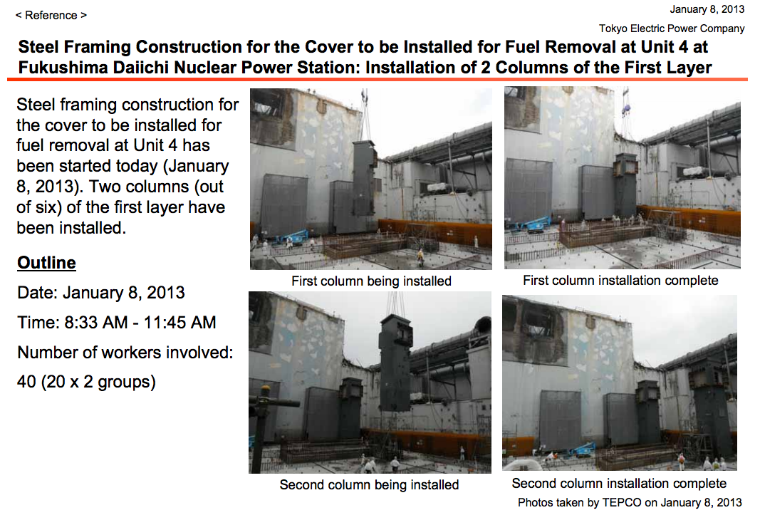 2 columns were installed to the steel framing for fuel removal of reactor4