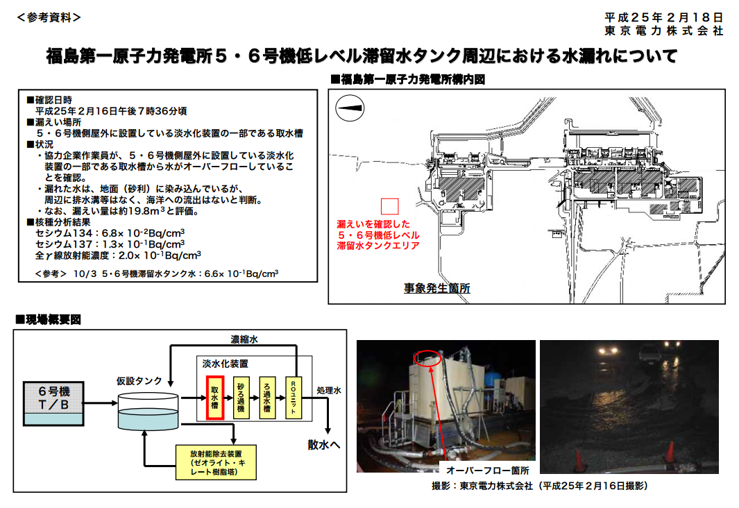 2 Contaminated water overflowed from the tank of reactor5 and 6 in the end
