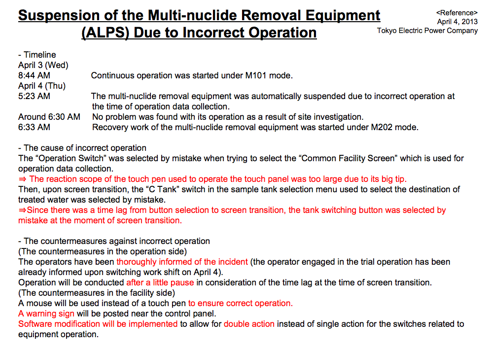 """Multi-nuclide removal equipment suspended because """"Touch pen was too big to operate"""""""
