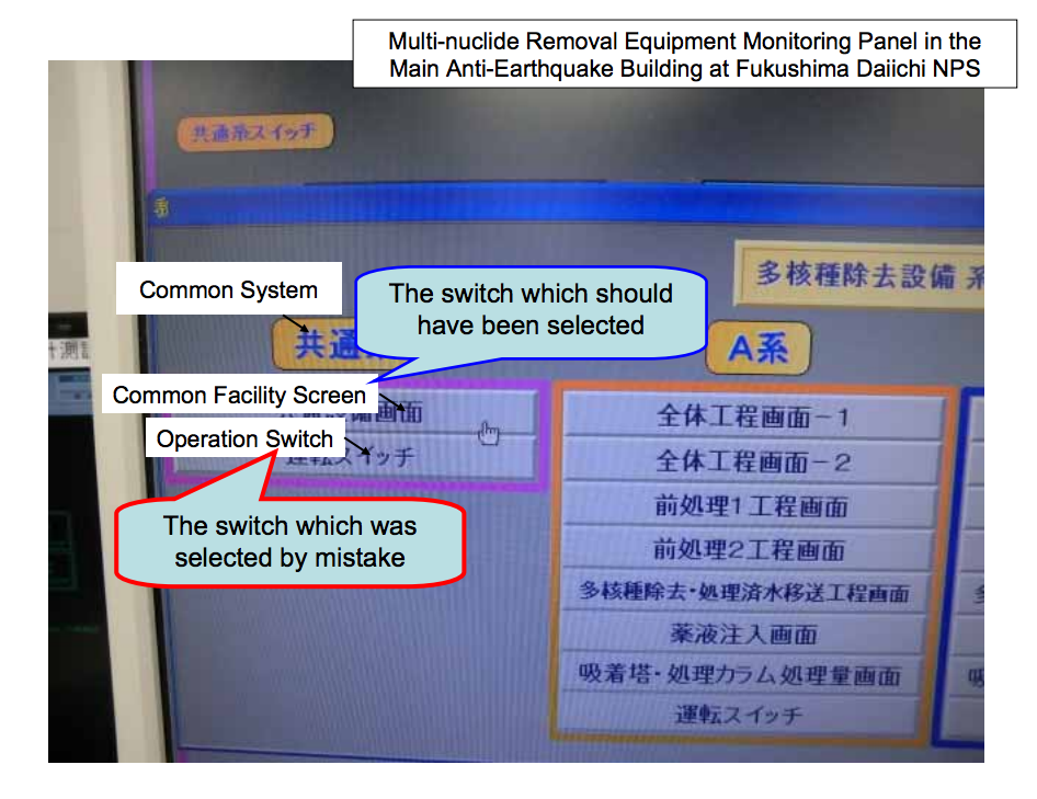 """3 Multi-nuclide removal equipment suspended because """"Touch pen was too big to operate"""""""