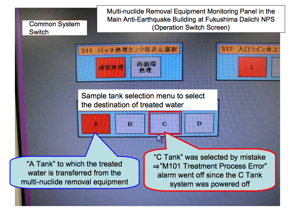 """5 Multi-nuclide removal equipment suspended because """"Touch pen was too big to operate"""""""