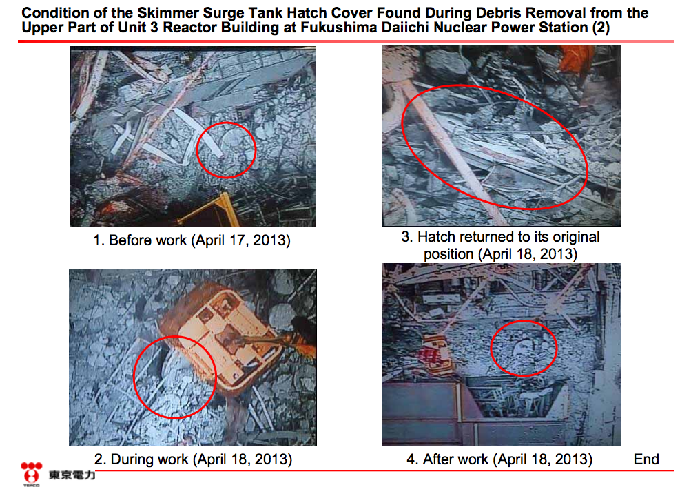6 Tepco crane picked up the skimmer surge tank hatch by mistake during debris removal of reactor3