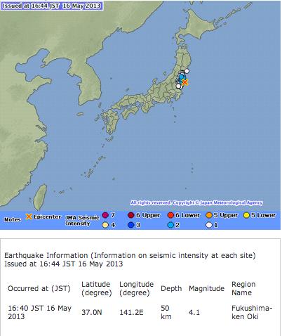 2 Japan Meteorological Agency skipped reporting M4.1 off the coast of Sanriku at 17:03 of 5/16/2013