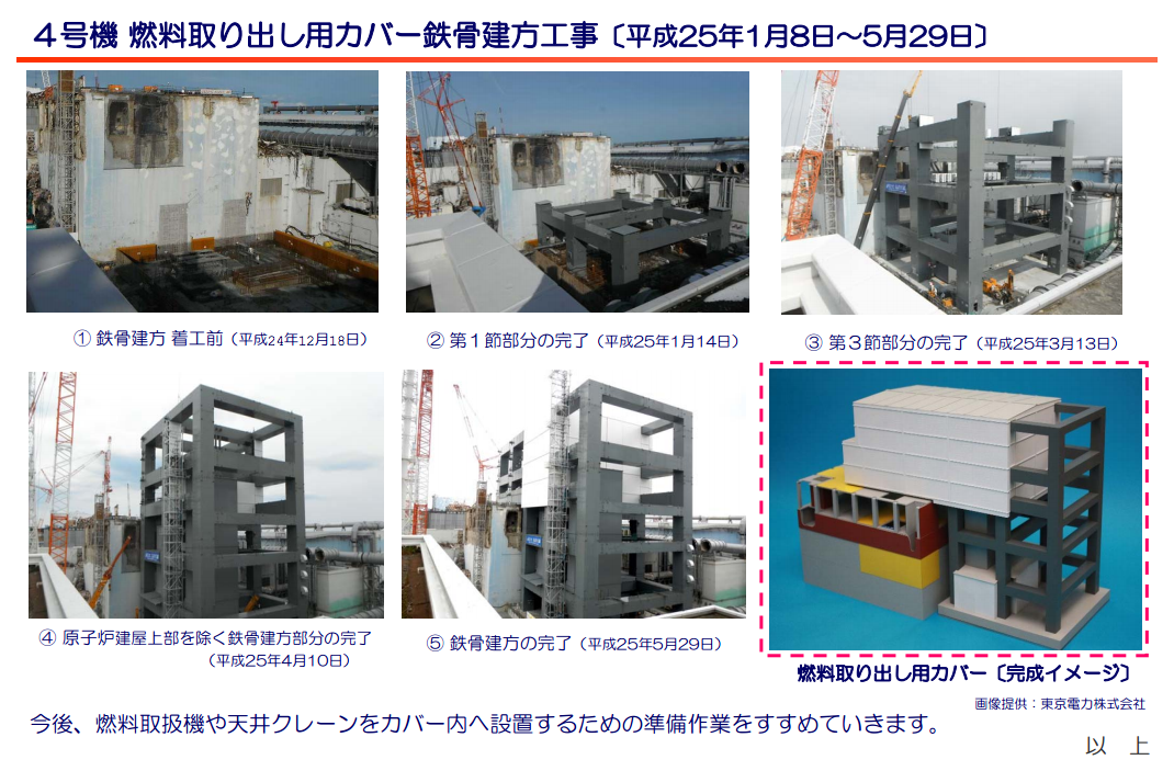 2 Tepco completed steel frame of reactor4 cover to start installing fuel removing crane
