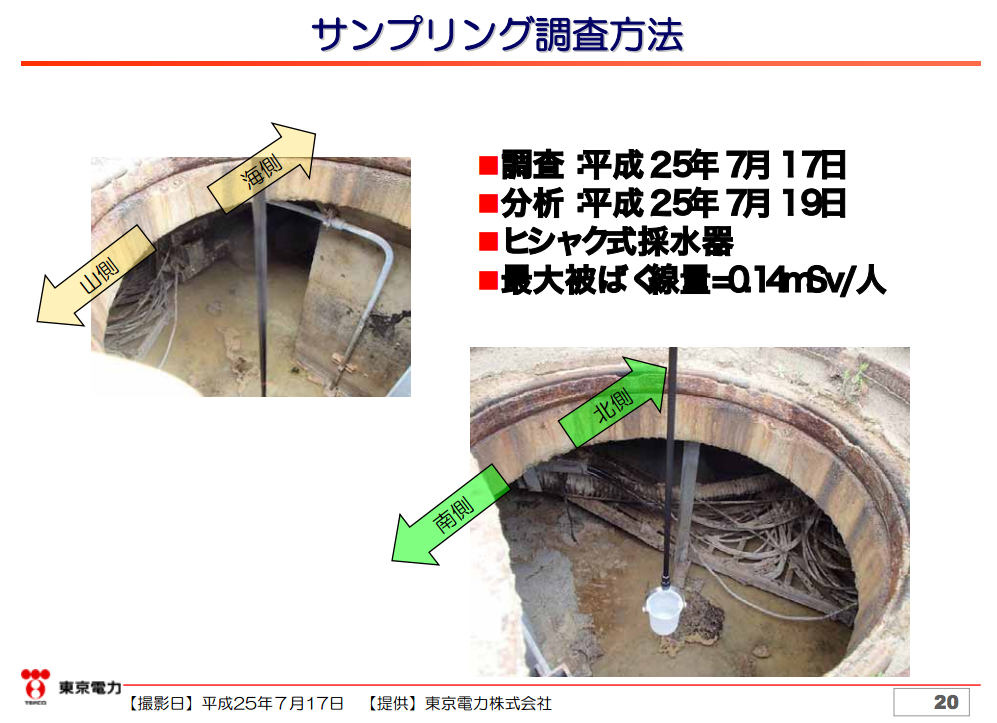 [From where?] Unverified substance found accumulated 1.3m in a manhole of reactor2 trench