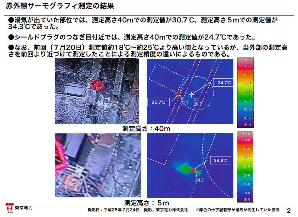 2 [Steaming reactor3] Thermography shows the steaming area is over 15℃ hotter than the rest of the area