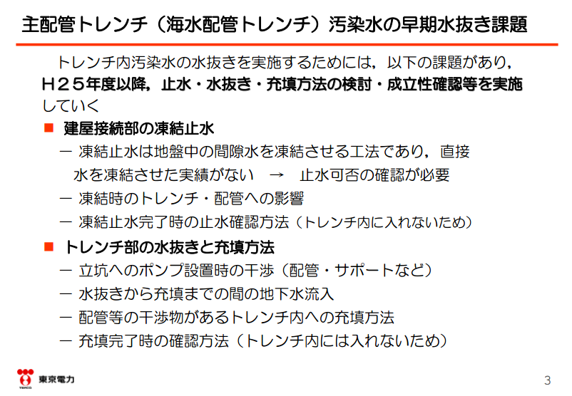"""3 Tepco to shut down extremely contaminated trench by freezing water / """"New attempt without example"""""""