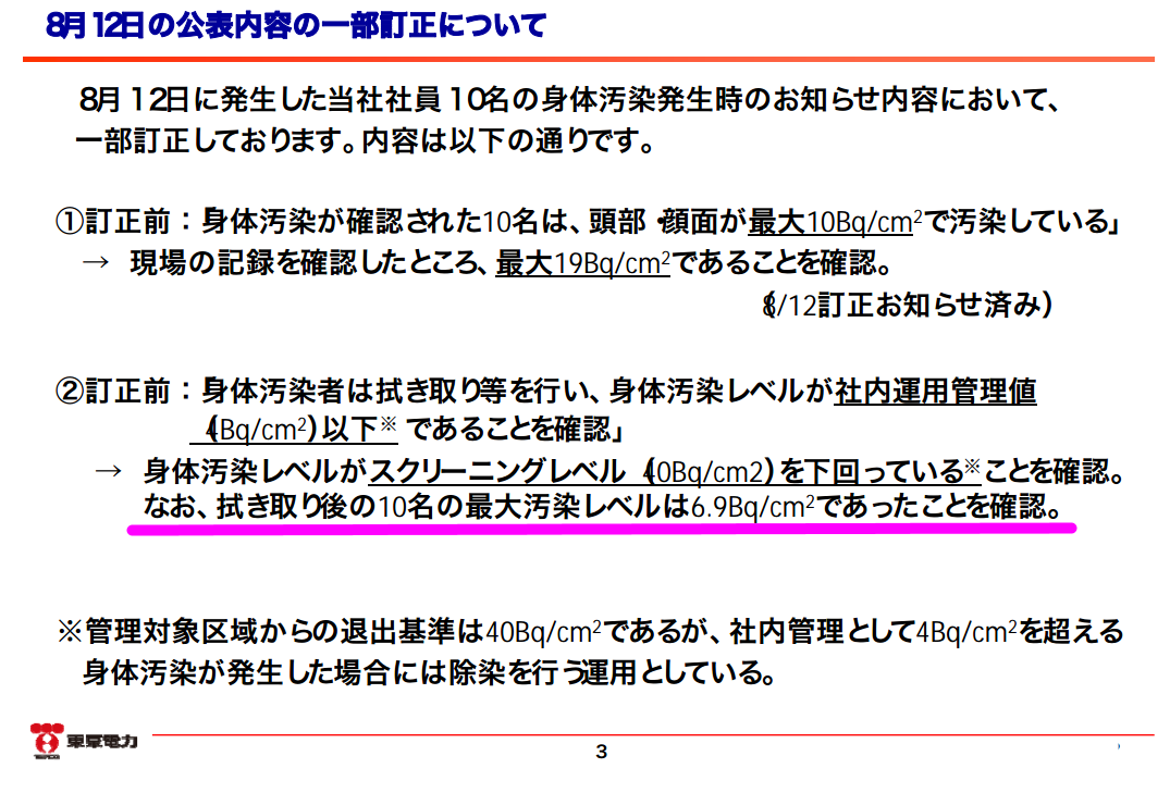 """Exposed workers released after """"wiping off the contamination"""" / 19 Bq/cm2 → 6.9 Bq/cm2"""